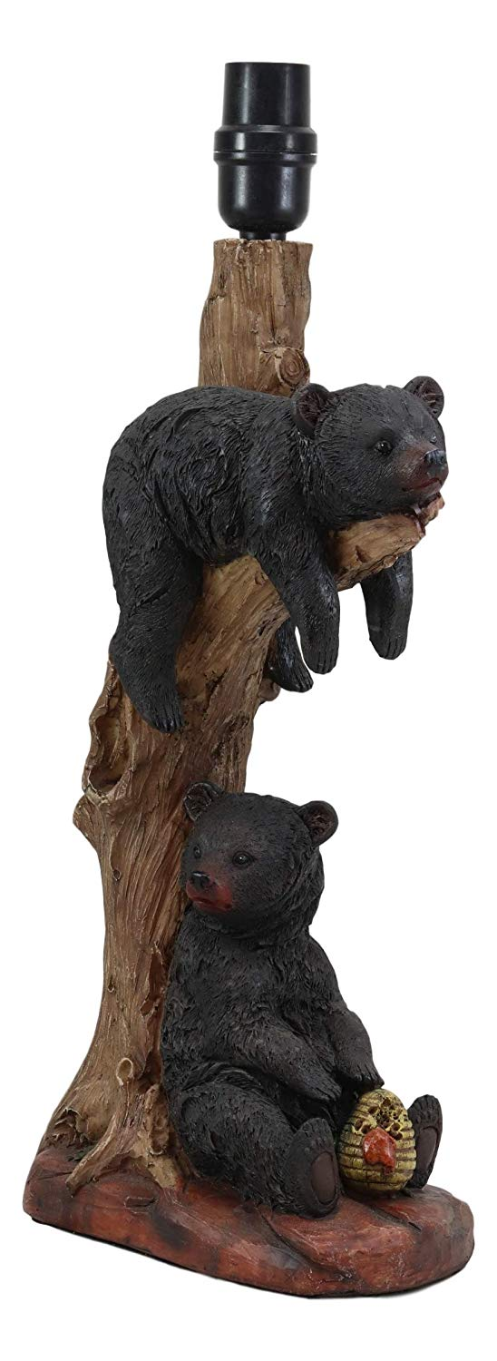 "Ebros Wildlife Rustic Cabin Lodge Decor Whimsical Lazy Days of Summer 2 Black Bears Napping On Tree Branch and Snacking Honey Table Lamp Statue with Shade 22""High Forest Bear Family Desktop Lamps"