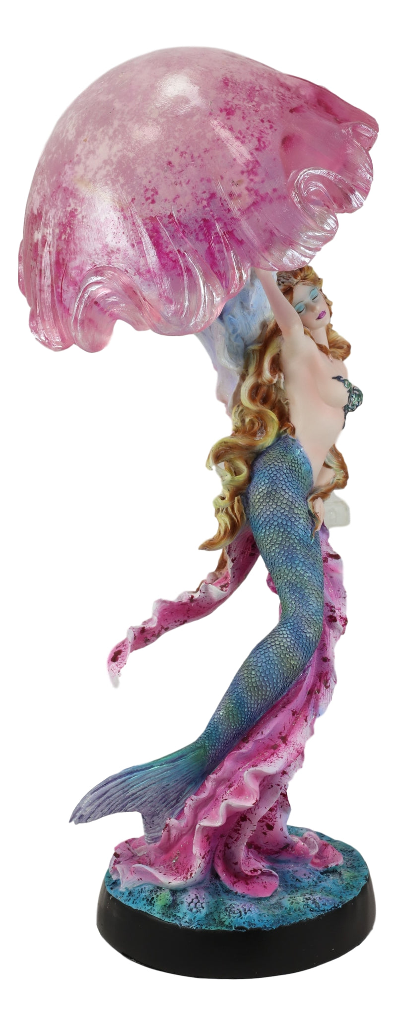 "Large 17.25""H Mermaid With Pink Jellyfish Statue With Colorful LED Light"