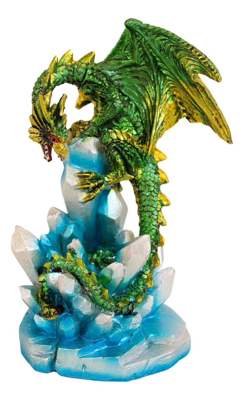 Green And Gold Cosmic Dragon On Blue Crystal Stalactite Rock LED Light Statue