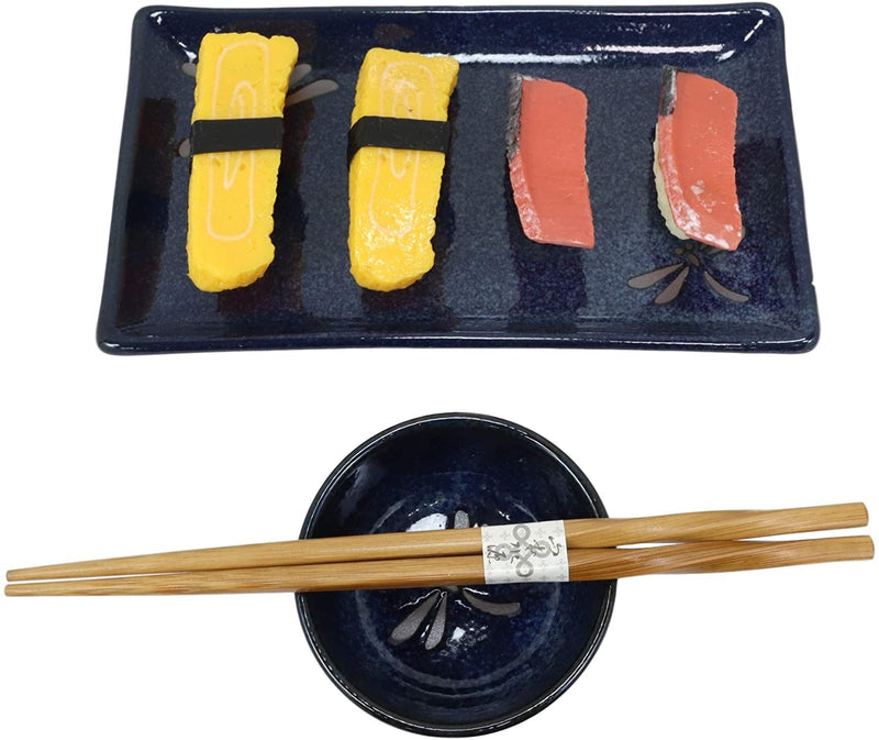 Japanese Dragonfly Symbol of Change Quality Ceramic Sushi Dinnerware Set For Two