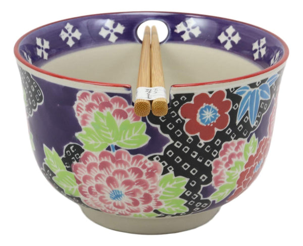 "Ebros Victorian Colorful Floral Blooms Ramen Udon Noodles Large 6.25"" Diameter Soup Bowl With Built In Rest and Bamboo Chopsticks Set for Rice Pasta Salad"