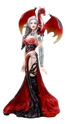 "Nene Thomas Red Fire Dragon Witch Statue 12""H Queen Of Shadows Severeielle Decor"