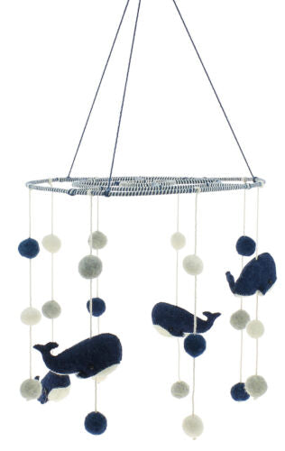 Ebros Fiona Walker England Handmade Organic Nursery Mobile Baby Room Decor (Moby Dick Whale Mobile)