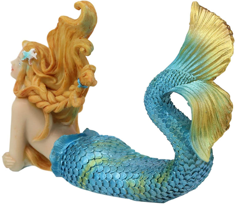 "Ebros 6"" Wide Colorful Nautical Ocean Mermaid Mergirl Alana Lying Prone On The Bottom of The Sea While Daydreaming Statue Under The Sea Fantasy Mermaids Mergirls Sirens of The Seas Figurines"