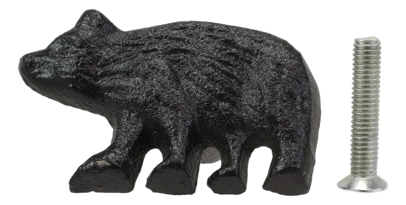 Cast Iron Rustic Western Black Bear Drawer Cabinet Door Knobs Hardware Pack of 4