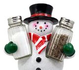 Christmas Winter Snowman Decorative Glass Salt Pepper Shakers Holder Figurine