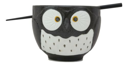 Whimsical Ceramic Black Owl Ramen Udong Noodles Soup Bowl With Chopsticks Set