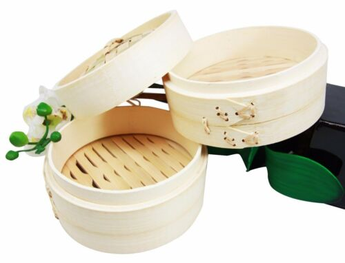"Dimsum High Tea 6"" Diameter Bamboo Steamer - Stackable Two Baskets With One Lid"