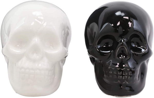Ebros Solid Black And White Sugar Skulls Salt And Pepper Shakers Set Ceramic