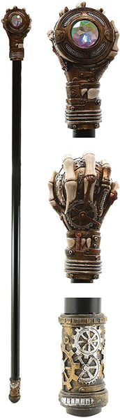 "Ebros Steampunk Skeleton Hand Grasping Eye Gears Swagger Stick Cane Staff 38"" L"