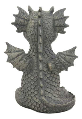 "Zen Meditating Yoga Namaste Dragon Statue Faux Stone Resin 5""Tall Fantasy Decor"