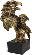 "Ebros Gift 9"" Tall Bald Eagle and Eaglet Head Bust Figurine with Black Pedestal"