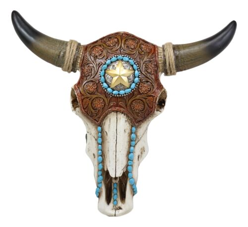 "Ebros 13.25"" Wide Western Star Tooled Leather Steer Bison Buffalo Bull Cow Horned Skull Head with Turquoise Beads Wall Mount Decor Replica Native Animal Totem Bust Skulls Hanging Plaque Sculpture - Ebros Gift"