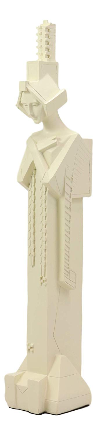 "Ebros Frank Lloyd Wright Architecture Midway Gardens Collectible White Sprite with Crossed Arms Statue Reproduction Sculpture 13.75"" Tall Home Decor Figurine"