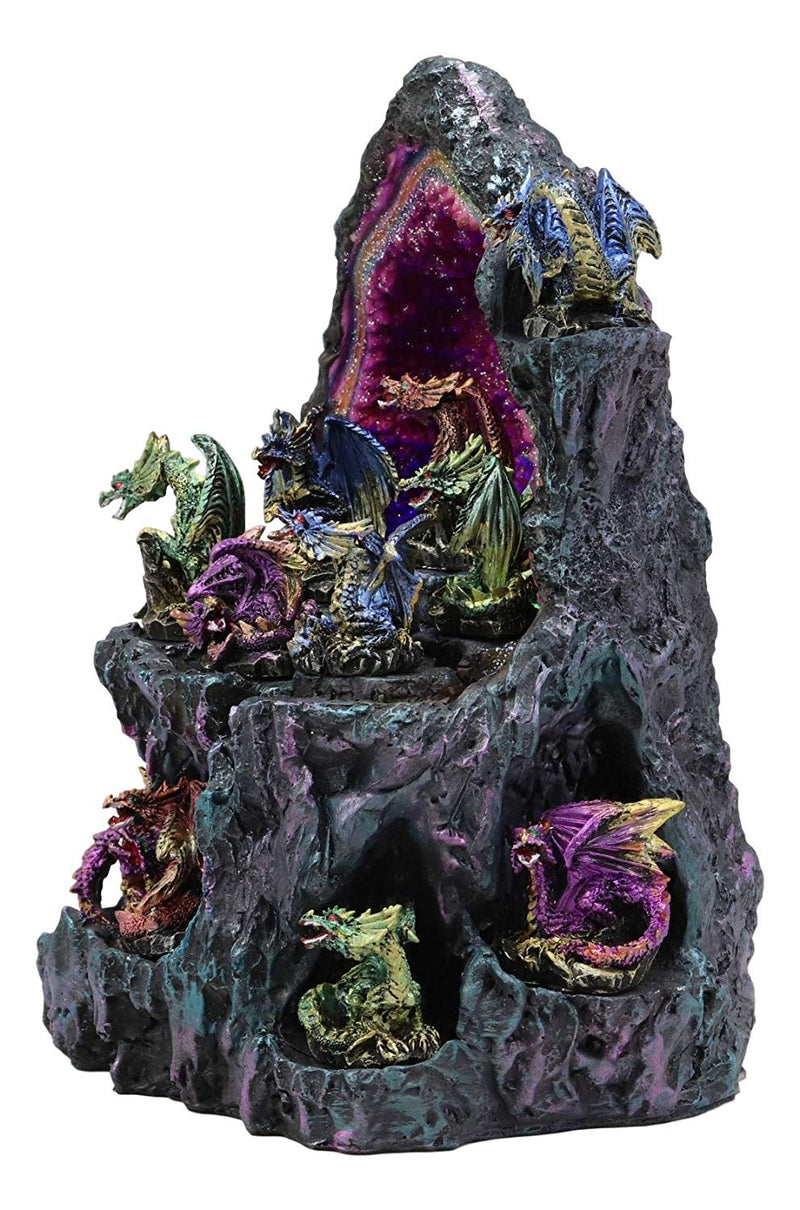Ebros 12 Miniature Dragons with Color Changing LED Light Display Cave Statue