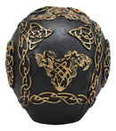 "Ebros Celtic Trinity Knotwork Tattoo Crusader Templar Knights Cross Black and Gold Skull Statue 6"" Long As Macabre Decor Skeleton Cranium for Halloween Day of The Dead Gothic Figurine Sculpture"