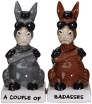 Ebros A Couple of Baddasses Donkeys Ceramic Salt and Pepper Shakers Set