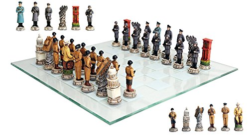 Ebros Gift World War Two Allied United States VS Axis Germany Resin Chess Pieces With Fine Glass Board Set