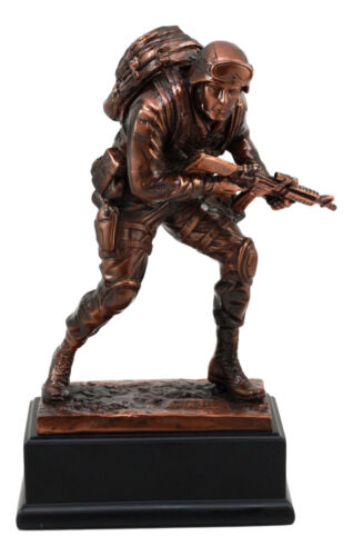 "Patriotic Marine Cadet Statue With Base 10""H Ground Combat Rifle Special Force"