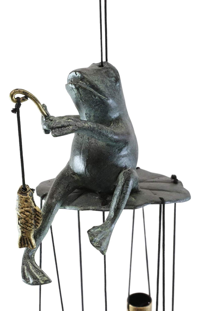 "Ebros Gift Aluminum Whimsical Summer Pastime Green Frog Fishing in The Pond Resonant Tube Wind Chime Sculpture 22"" Tall Outdoors Garden Lawn Patio Home Pool Deck Accent Decor"