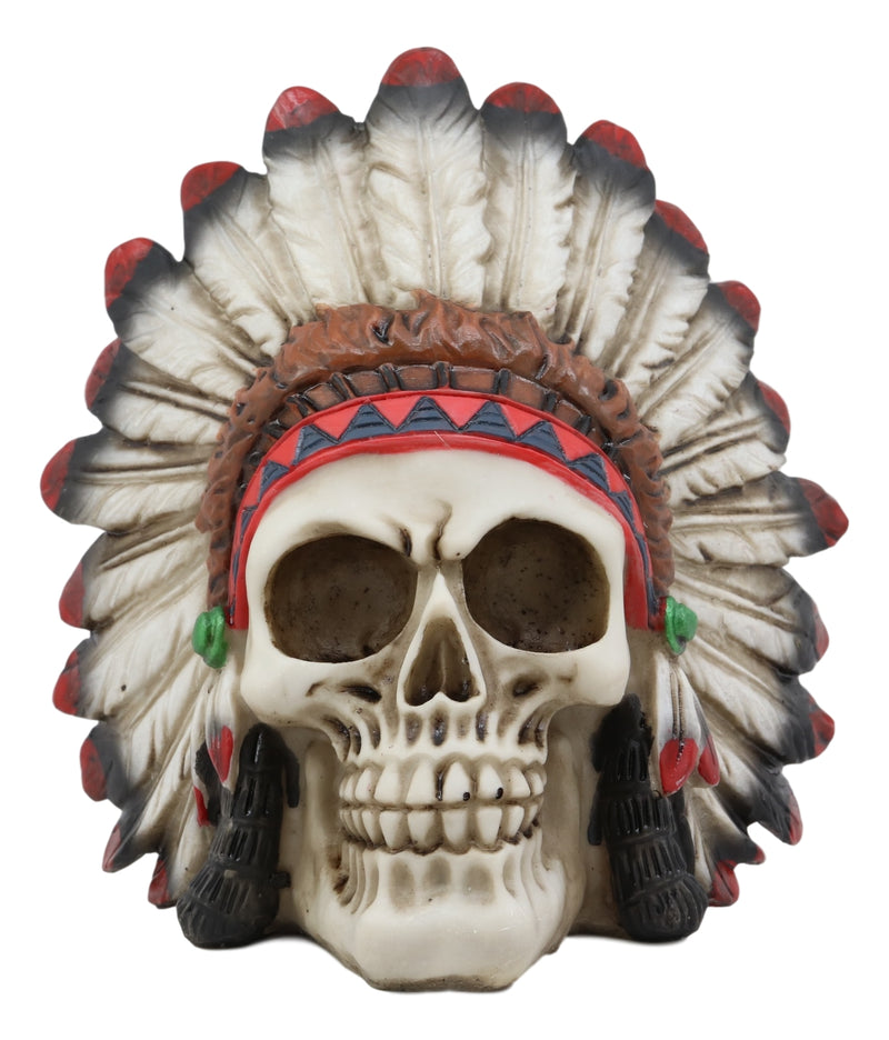 "Ebros Native American Indian Eagle Chief Skull Statue 5.75"" Long Tribal Mohawk Warrior Gothic Skulls with Roach Headdress Figurine Day of The Dead Graveyard Ossuary Spooky Decor"