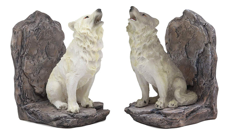 "Ebros Animal Totem Spirit Howling Gray And Snow Wolves Decorative Small Bookends Figurine Set 5.5""Tall As Timberwolf or Wolf Decor For Library Book Shelves Fantasy Sculptures"
