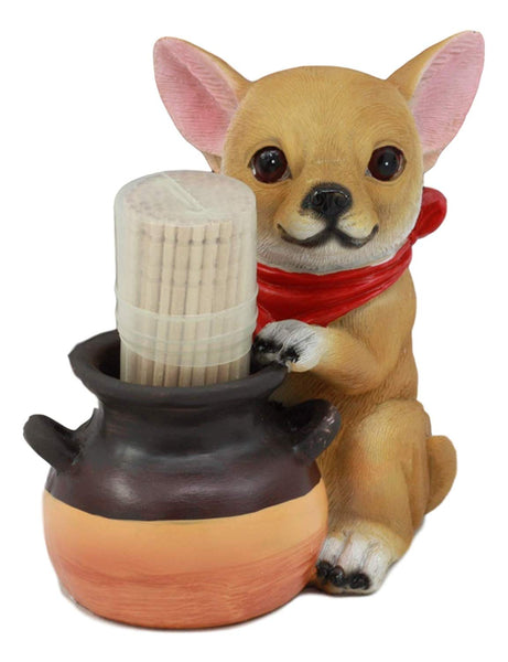"Ebros Lifelike Chihuahua With Red Scarf And Pot Decorative Toothpick Holder Statue With Toothpicks 4"" Tall Starter Kit Dog Kitchen Decor Figurine Collectible"