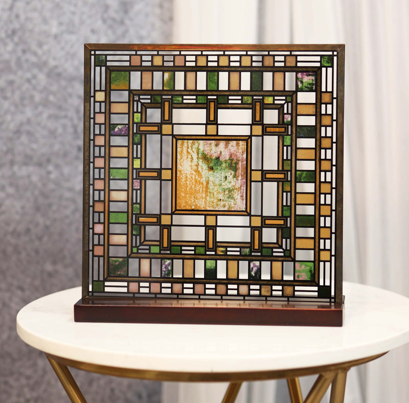 Frank Lloyd Wright Martin House Pier Laylight Stained Glass Wall Desktop Plaque