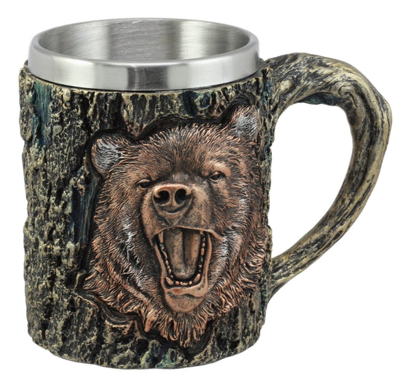 Ebros Nature Wildlife Roaring Black Bear Mug With Rustic Tree Bark Texture Design In Painted Bronze Finish 12oz Drink Beer Stein Tankard Coffee Cup