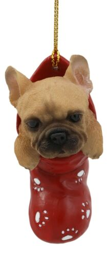 Realistic Frenchie French Bulldog In The Sock Small Hanging Ornament Figurine