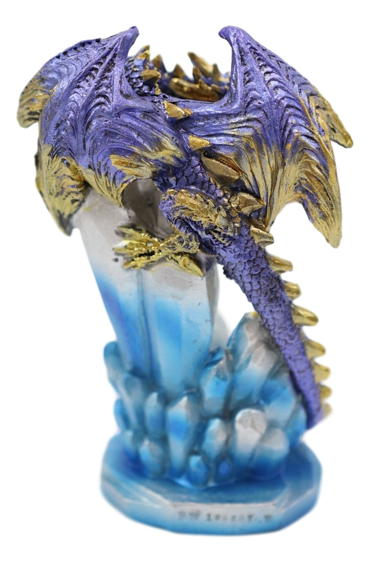 Purple And Gold Cosmic Dragon On Blue Crystal Stalactite Rock LED Light Statue
