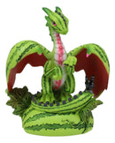 Ebros Colorful Garden Fruits and Berries Green Thumb Dragon Statue by Stanley Morrison Medieval Fairy Dragons Fantasy Decor Figurine (Refreshing Subtropical Watermelon)
