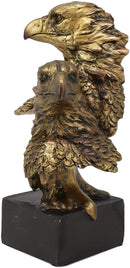 "Ebros Gift 6"" Tall Bald Eagle and Eaglet Head Bust Figurine with Black Pedestal"