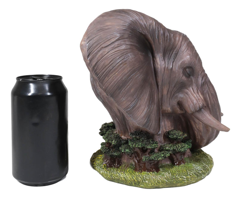 "Noble Guardian Safari Elephant Protecting Calf by Green Grasslands Statue 12"" H"