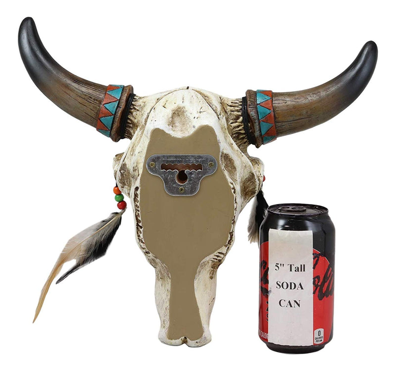 "Ebros 12.5"" Wide Western Southwest Steer Bison Buffalo Bull Cow Horned Skull Head with Faux Turquoise Diamond and Dream Catcher Feathers with Beads Wall Mount Decor"