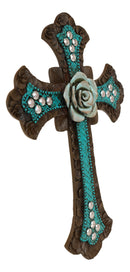 Vintage Rustic Turquoise Tuscan Rose Of Sharon Flower Wall Cross Christian Decor