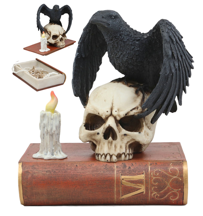"Ebros Edgar Allan Poe Harbinger of Doom and Prophecy Raven Crow Perching On Skull with Ancient Book Jewelry Box Statue 8.5"" Tall Figurine As Halloween Decor"