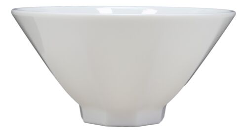 "Contemporary Octagon White Jade Melamine Large 8""Dia Soup Salad Bowls 42oz Set 2"