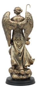 "8.25""H Catholic Church Saint Archangel Raphael With Staff & Healing Oil Figurine"