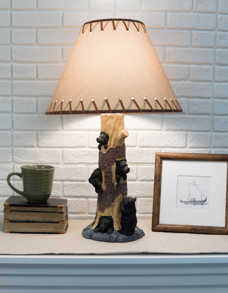 Rustic Black Bear Cubs Peekaboo Climbers by A Tree Table Lamp Statue With Shade