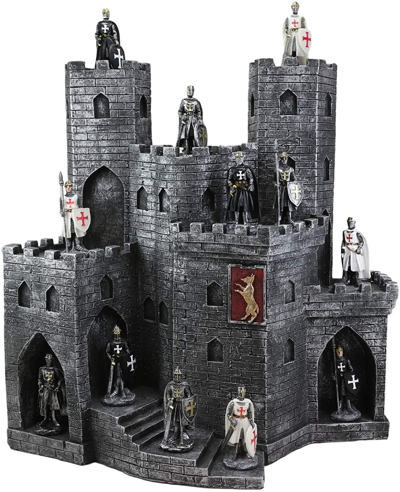 Ebros Castle Fortress Display Stand Sculpture with 12 Miniature Knight Figurine