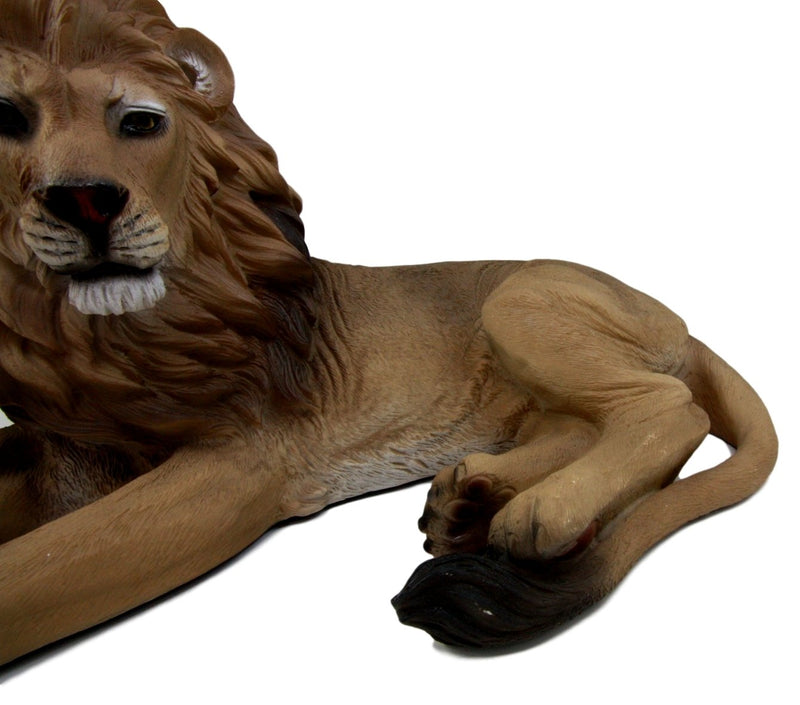"Ebros African King Aslan Lion On Repose Statue 16""L Pride Rock Giant Cat Sculpture"