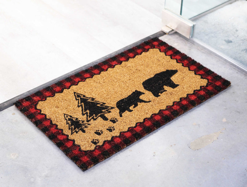 "Black Bears On Pine Forest Trail Coir Coconut Fiber Floor Mat Doormat 29""X17"""