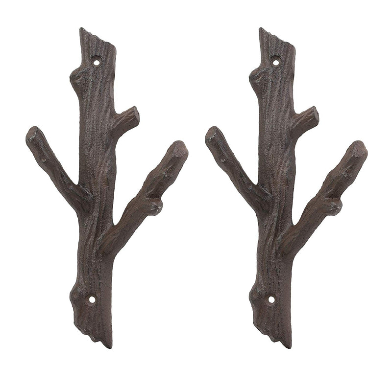 Ebros Cast Iron Rustic Western Country Tree Branches Twigs Wall Hanger 2 Peg Hook Decor Hangers for Coats Hats Leashes Backpacks Keys Decorative Organizer On Mudroom Main Entrance Walls (2)