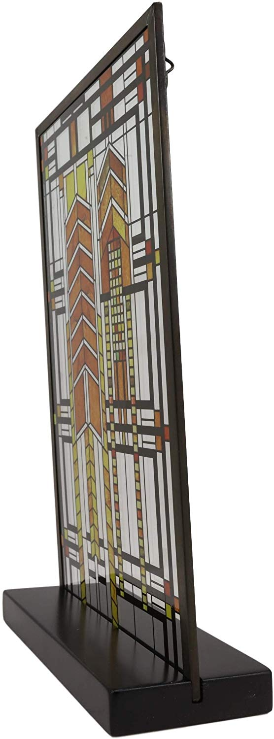 "Ebros Frank Lloyd Wright Autumn Sumac Stained Glass 10"" by 6.5"" Desktop Plaque"