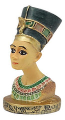 "Egyptian Queen Nefertiti Bust Miniature Figurine With Hieroglyphic Base 2.25""H"
