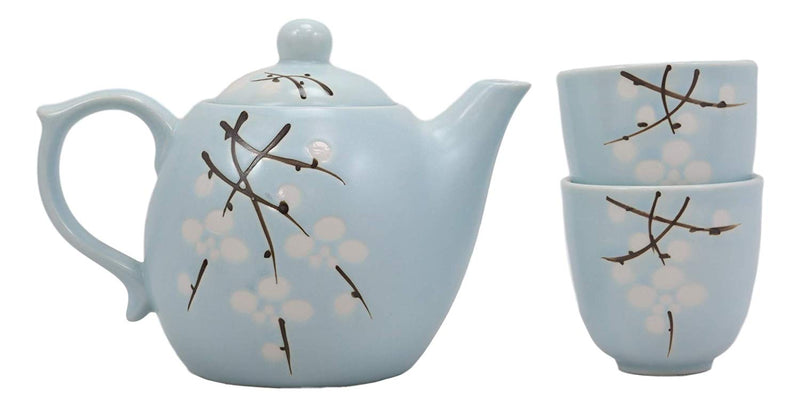 Ebros Gift Japanese Sakura Pastel Sky Blue Cherry Blossom Design Porcelain 20oz Tea Pot and 2 Cups Service Set Home Decor Asian Living Teapots Decorative Party Hosting Dining Table Accessories