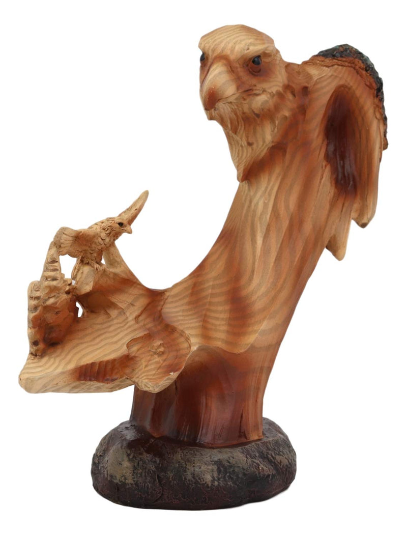 "Ebros American Pride Bald Eagle Bust with Soaring Eagles Nature Wildlife Forest Scenery Statue 6.25"" Tall Faux Wood Resin Sculpture As Patriotic or Inspirational Decor Figurine"