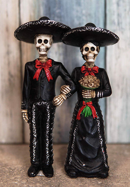 "Ebros DOD Wedding Bride and Groom Mariachi Skeleton Couple Figurine 5.5"" Tall"