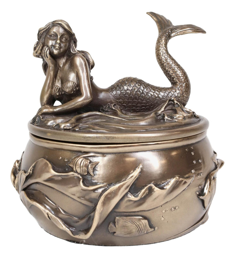 Ariel Mermaid Resting With Under The Sea Fishes Decorative Jewelry Box